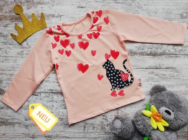 Mädchen Shirt aus Jersey mit Katze und Straßsteinen
