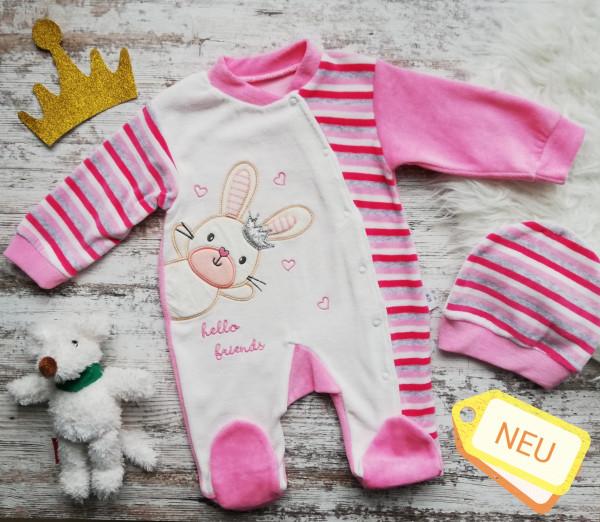Newborn Baby Mädchen Strampler und Mütze kuschelig-weich pink